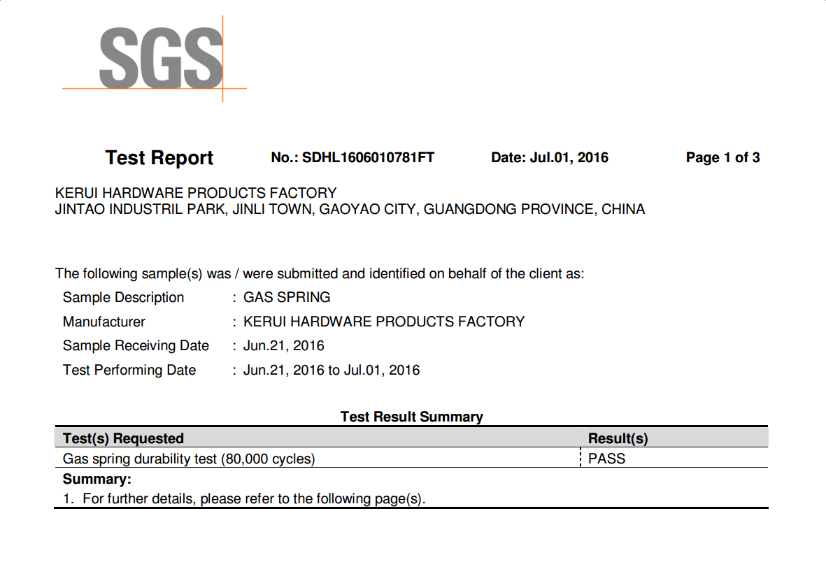 SGS Test Report for Kerui Hardware Factory